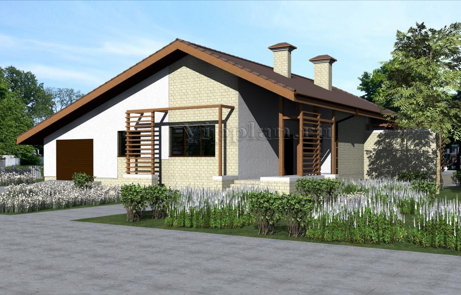 Проект небольшого одноэтажного дома из газоблоков Vg1118 в Казани